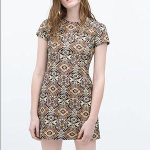 Zara Metallic Jacquard Mini Dress Sz M